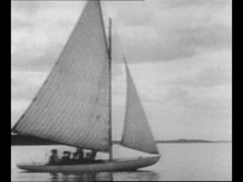 Montage Franklin Roosevelt speaks outside building / montage Roosevelt family sailboat in water in New Brunswick with Roosevelt with pipe and...