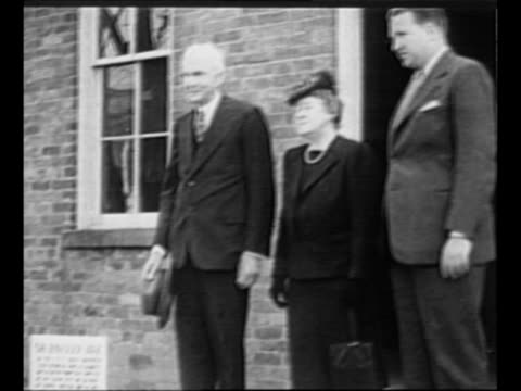 montage henry ford wife clara jane bryant ford and grandson henry ford ii at doorway of ford's first shop now preserved where the horseless carriage... - henry ford stock videos and b-roll footage
