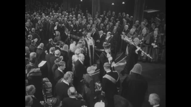 montage int library of the court of common council at guildhall as frederick ix and queen ingrid approach thrones along with philip duke of edinburgh... - lord mayor of london city of london stock videos & royalty-free footage