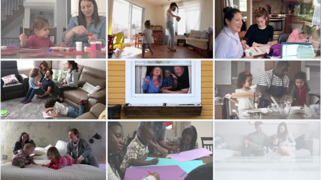 montage many multi ethnic families portrait at home montage - image montage stock videos & royalty-free footage