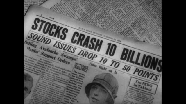 stockvideo's en b-roll-footage met montage money swirls in air / tall stacks of coins waver / newspaper headline about stock crash / montage flappers dance the 'charleston' / night... - 1920