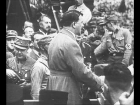 montage nazi leader adolf hitler speaks emphatically to crowds / from greatest headlines of the century series / note [exact dates not known] - nazi germany stock videos and b-roll footage