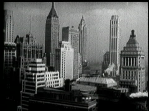 vídeos de stock, filmes e b-roll de montage - new york city - wall street, downtown skyline. - 1920