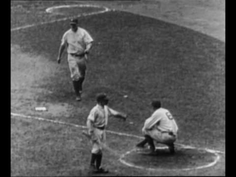 montage new york yankees baseball player lou gehrig hits runs / cu gehrig speaks / black / end credits / from greatest headlines of the century... - lou gehrig stock videos & royalty-free footage