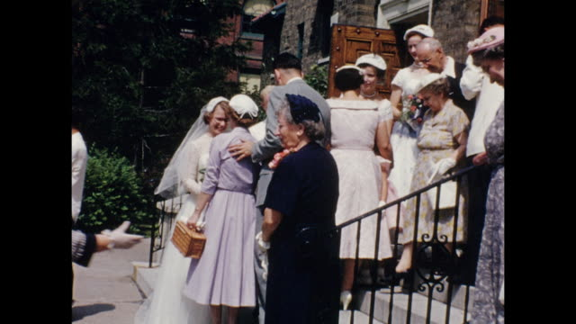 A montage of a wedding party coming out of a church.