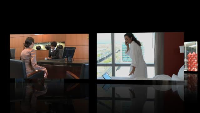 vídeos de stock, filmes e b-roll de montage of business people in conference hotel - estação turística