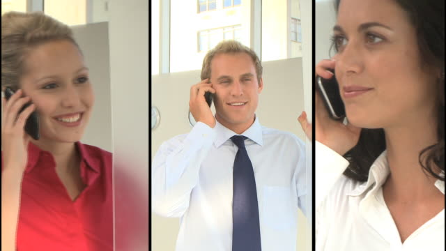 montage of business people in office on the phone - split screen stock videos & royalty-free footage