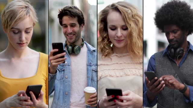 vidéos et rushes de montage of diverse group of adults using social media on smart phone - montage