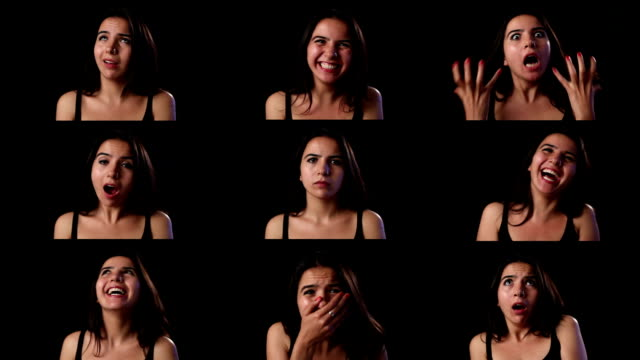 montage of facial expressions by young adult woman - emotion stock videos & royalty-free footage