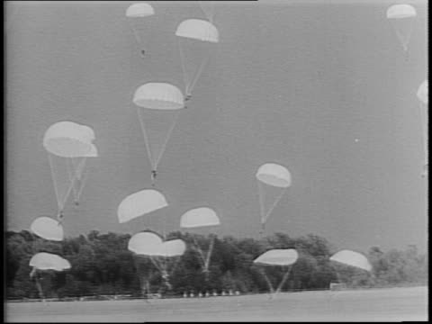 montage of gliders flying in sky / parachutes drop from sky / parachutists landing in field / gliders landing and soldiers exiting with rifles / tow... - allied forces stock videos & royalty-free footage