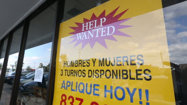 montage of help wanted and labor signage, close-ups - help wanted sign stock videos and b-roll footage