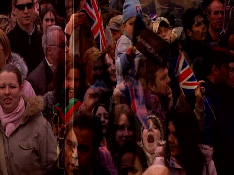 Montage of images highlighting royal wedding of Prince Charles and Camilla Duchess of Cornwall Windsor; 9 April 2005