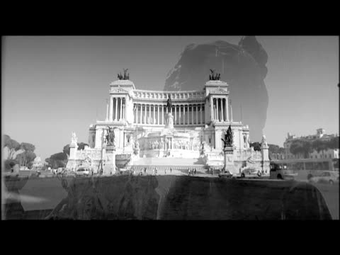 montage of landmarks and monuments shot in mock black and white film with scratches and cinemascope effect letterbox rome. - love emotion stock videos & royalty-free footage
