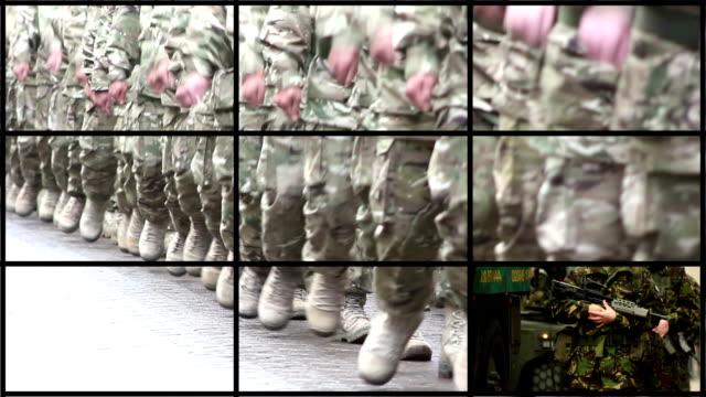 vídeos de stock, filmes e b-roll de montagem de militares, exército & soldado de clipes - exército americano
