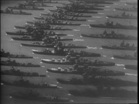 montage of model battleships carriers cruisers destroyers fleet representing japanese ships destroyed by united states since pearl harbor - 1942 stock videos & royalty-free footage