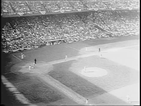 montage of ninth inning game play, spectators / players include morty marion, ken o'dea, dennis galehouse, edward albert christian george andrew... - inning stock videos & royalty-free footage