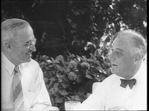 montage of president franklin d roosevelt and senator harry s truman discussing campaign plans outside at the white house - harry truman stock videos and b-roll footage