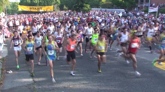 montage of running race starts from northport new york running race starts montage northporth ny on september 15 2010 - salmini stock videos & royalty-free footage