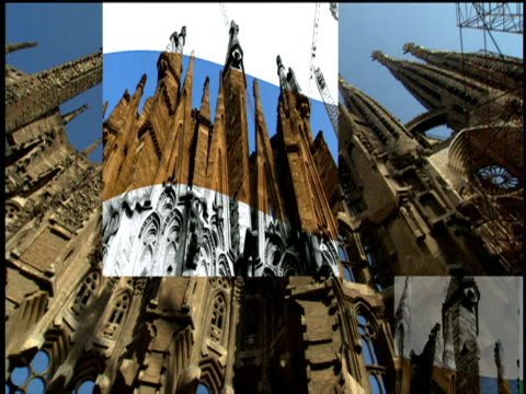 montage of sagrada familia exterior barcelona - sagrada familia stock-videos und b-roll-filmmaterial