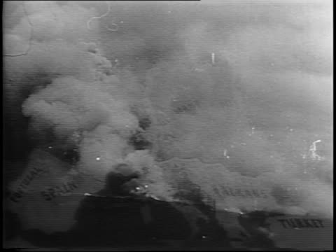 montage of smoking hillside explosions flames - 1944 stock videos & royalty-free footage