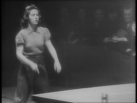 stockvideo's en b-roll-footage met montage of table tennis players competing / male finalists louis pagliaro and bernard grimes shake hands / montage of competitors carolyn wilson and... - spelkandidaat
