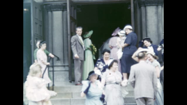 A montage of the wedding party and bride and groom departing the church after they got married.