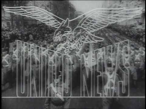 a montage of world war ii military scenes forms the background for a united news newsreel title screen. - newsreel stock videos & royalty-free footage