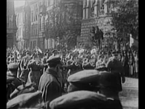 montage polish troops march in parade in warsaw street in celebration of the anniversary of the adoption of the 1794 constitution now the basis of... - warschau stock-videos und b-roll-filmmaterial