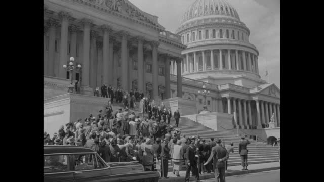 montage queen juliana and prince bernhard of the netherlands stand on us capitol steps after the queen's address to joint session of congress / 2shot... - joint session of congress stock videos and b-roll footage