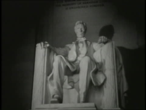 a montage reveals several views of the lincoln memorial and the iconic statue. - lincoln memorial stock videos & royalty-free footage