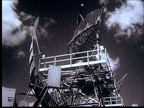 vídeos de stock e filmes b-roll de montage, rocket launch, radar battery, jet planes - 1956
