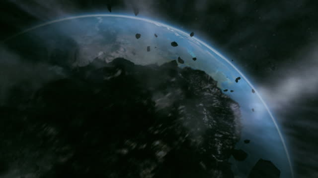 A montage shows a meteor hurtling towards earth and exploding on impact.