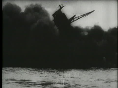 a montage shows explosions and sinking ships during the attack on pearl harbor. - world war ii stock videos & royalty-free footage