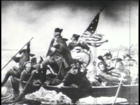 a montage shows scenes of american statues, paintings, and an early american flag. - george washington painting stock videos and b-roll footage