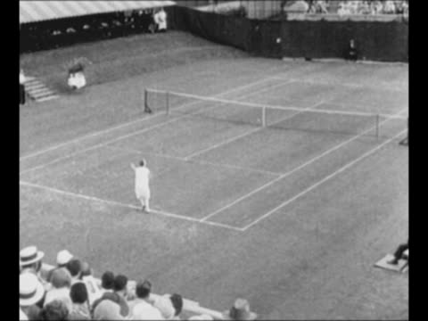 stockvideo's en b-roll-footage met montage tennis player helen wills moody plays on tennis court / moody smiles / montage moody plays / from greatest headlines of the century series /... - atlete