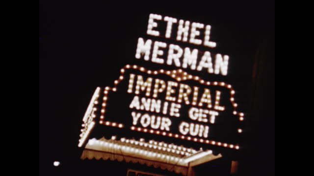 Montage theater and nightclub marquees including Buddy Morrow appearing at the Roseland Oklahoma at the St James and Ethel Murman in Annie Get Your...