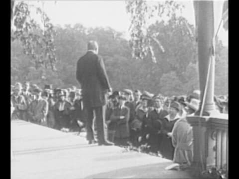 montage theodore roosevelt addresses suffragette rally from porch of his sagamore hill home in new york state / from greatest headlines of the... - voting rights stock videos & royalty-free footage