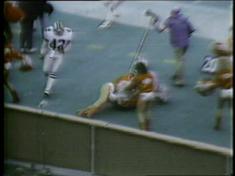 1983 Montage HA WS ZI Trumaine Johnson of USFL team Chicago Blitz crashing into cheerleaders on sidelines / MS Trumaine Johnson helping cheerleader up off ground / USA