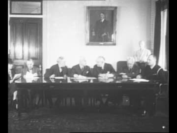 montage us delegates slated to attend the un conference on initial organization, seated at table in meeting, l to r: barnard college dean virginia... - virginia us state stock videos & royalty-free footage