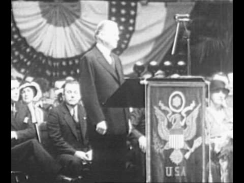 montage us president herbert hoover makes speech audience listens / ls hoover speaks at outdoor event / from greatest headlines of the century series - herbert hoover us president stock videos & royalty-free footage