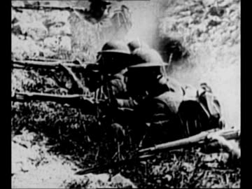 montage us troops wear gas masks in trench during gas attack, fire rifles from trench, advance across field / from greatest headlines of the century... - world war one stock videos & royalty-free footage