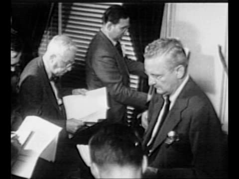 montage white house press secretary joseph short with journalists at press conference about about the firing of general douglas macarthur / reporters... - general macarthur stock videos and b-roll footage