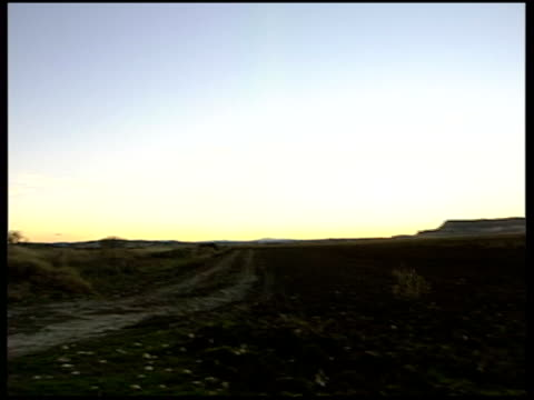 countryside life; good sky shots / car towards on remote country road / low angle shot of free-standing letterbox on field / tumbleweed towards on... - letterbox stock-videos und b-roll-filmmaterial