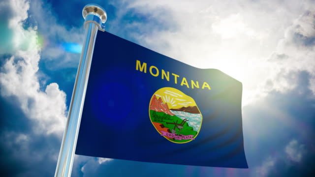 4k - montana flag | loopable stock video - montana western usa stock videos and b-roll footage