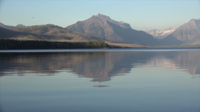 montana mountain and ripples on lake macdonald - glacier nationalpark stock-videos und b-roll-filmmaterial