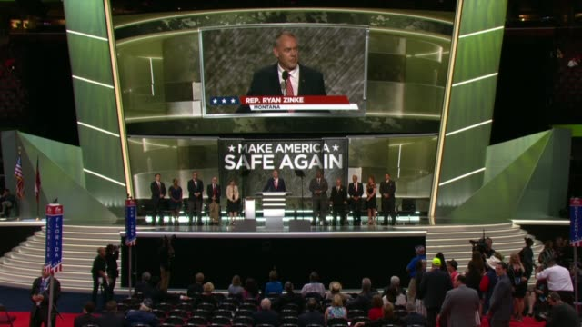 Montana Representative and former Navy SEAL Ryan Zinke tells convention delegates about mentoring Navy SEALS who he says deserve the right training...
