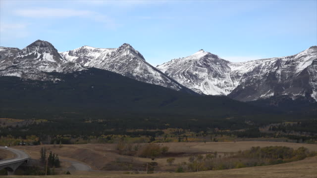 montana rocky mountain peaks beyond east glacier. - great plains stock videos & royalty-free footage