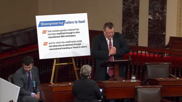 montana senator jon tester discusses a bill to require mandatory labeling of genetically modified food before the senate, opposing it on the grounds... - genetic modification stock videos & royalty-free footage