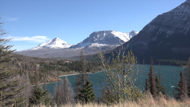 montana st  marys lake through trees.mov - glacier national park us stock videos and b-roll footage