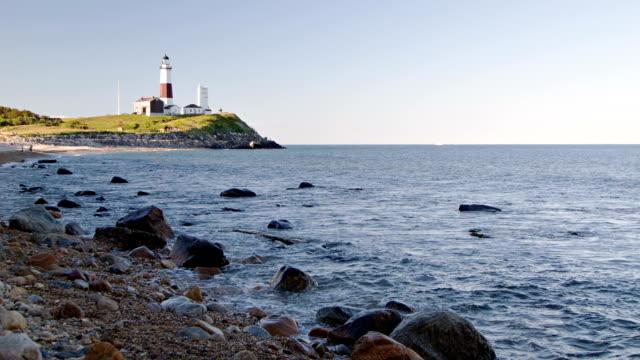 モントーク岬、灯台光、long island ,new york - ロングアイランド点の映像素材/bロール